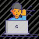 computer, event, listener, user icon