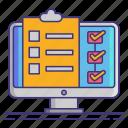 checklist, computer, project, status icon