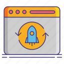 cycle, development, release, rocket icon
