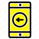 application, left, mobile icon