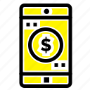application, dollar, mobile icon