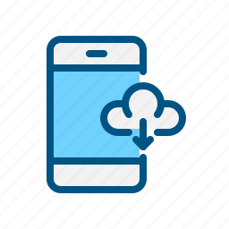 app, data, download, downloading, mobile, smart phone icon