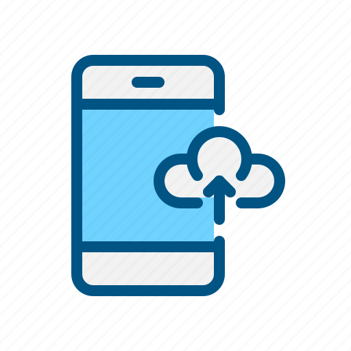 cloud, data, mobile, phone, transfer, upload, uploading icon
