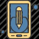 application, mobile, pencil icon