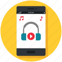 audio, mobile app, multimedia, music, play, smartphone, sound icon icon