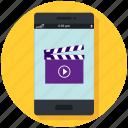 app, clapper, mobile, movie, phone, smartphone, video icon icon