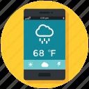 app, cloud, mobile, rain, raining, temprature, weather icon icon