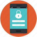 app, lock, mobile, phone, security icon icon