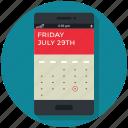 app, application, calendar, date, event, mobile, phone icon
