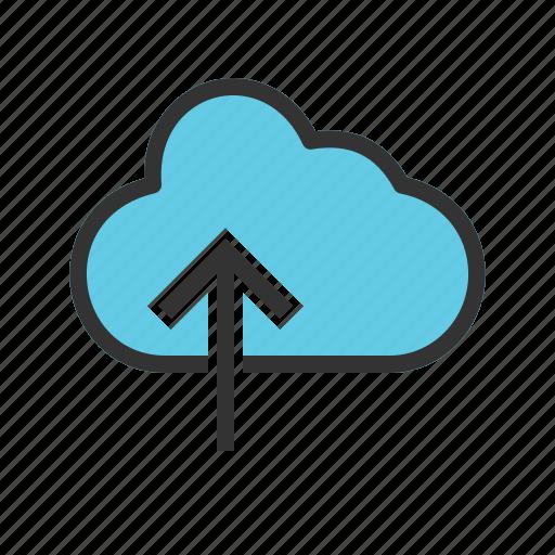 arrow, cloud, cloud computing, data, storage, technology, upload icon