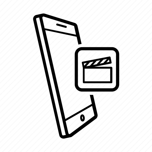 app, clapperboard, editing, film, mobile, movies, smartphone icon