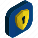 application, apps, lock, mobile, safety, security, shield icon