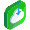 application, apps, arrow, cloud, down, download, mobile icon