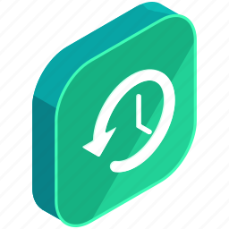 application, apps, arrow, clock, full, mobile, time icon