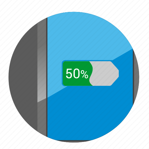 battery, charge, device, half, smartphone icon