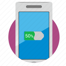battery, charge, device, energy, half, smartphone icon