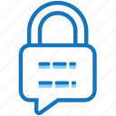 company, lock, message, privacy, safety, security, talk icon