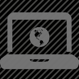 device, globe, internet, laptop, media, portable, world icon
