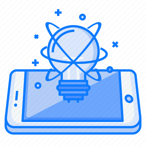 concept, idea, innovation, light, mobile, startup, think icon