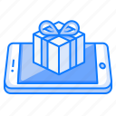 device, gift, mobile, present, smartphone, surprise, wish icon