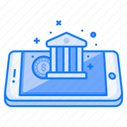 bank, coin, concept, finance, income, mobile, money icon