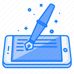 artical, blog, concept, fountain, mobile, pen, write icon