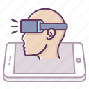 man, mobile, oculus, reality, sideview, virtual, vr icon