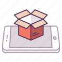 box, concept, logistic, mobile, open, package, smartphone icon