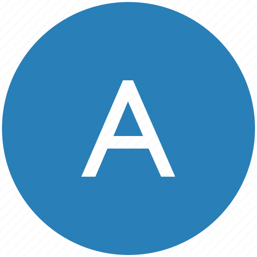 a, keyboard, latin, letter, round, text, uppercase icon