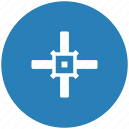 aim, blue, cursor, round, target icon