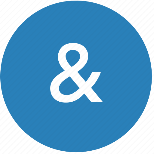 ampersand, keyboard, latin, letter, round icon