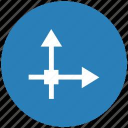 axis, blue, grid, math, round icon