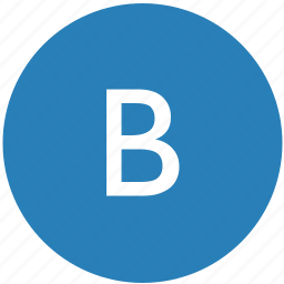b, keyboard, latin, letter, round, text, uppercase icon
