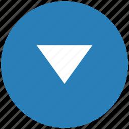 arrow, blue, bottom, down, round icon