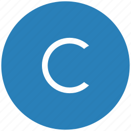 blue, c, copy, copyright, letter, round icon