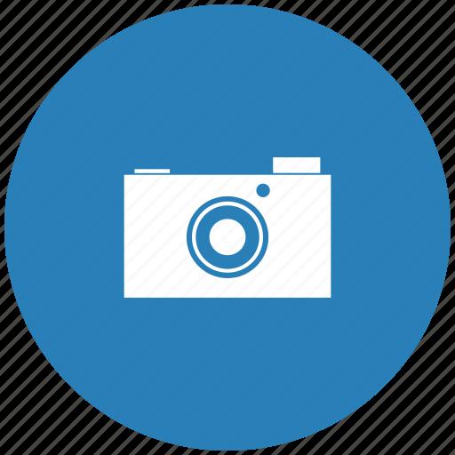 blue, camera, digital, photo, round icon