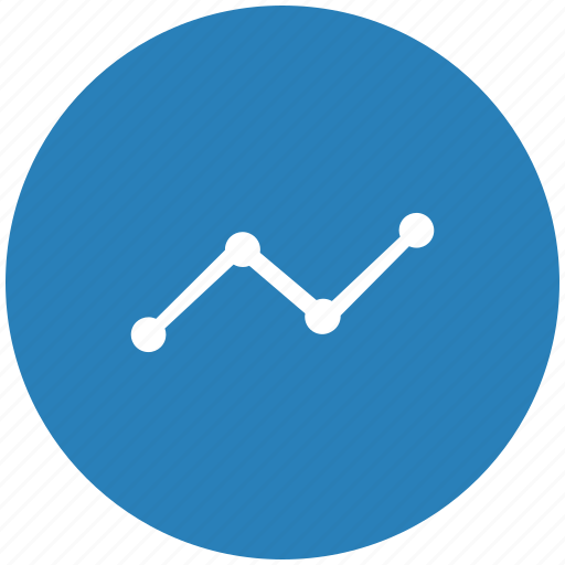 blue, chart, data, grow, round icon