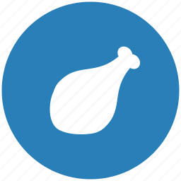 blue, chicken, food, meat, round icon