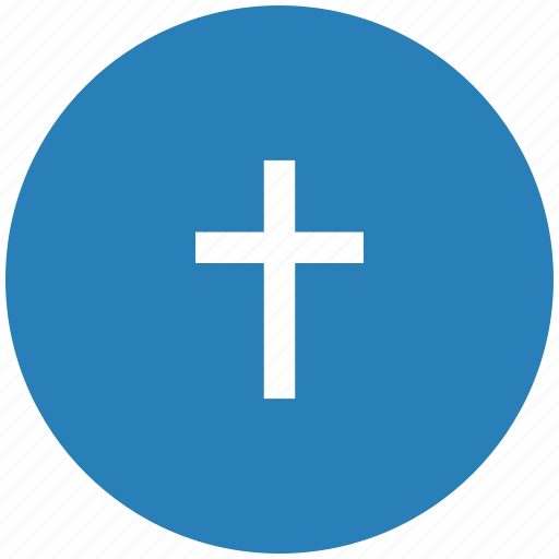 blue, christian, cross, religion, round icon