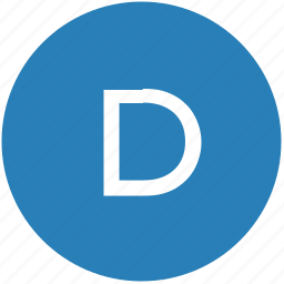 d, keyboard, latin, letter, round, text, uppercase icon