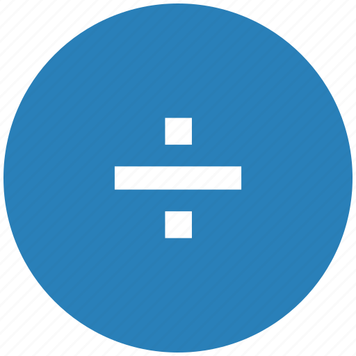 blue, divide, function, math, round icon