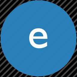 e, keyboard, latin, letter, lowcase, round, text icon