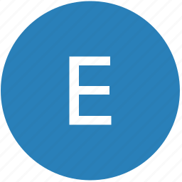 e, keyboard, latin, letter, round, text, uppercase icon