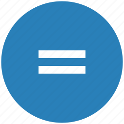 blue, equal, function, math, round icon
