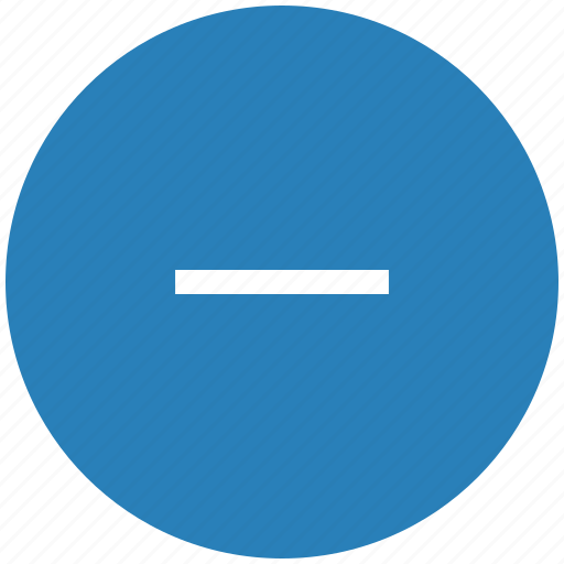 blue, cut, erase, minus, round icon