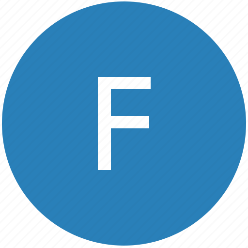 f, keyboard, latin, letter, round, text, uppercase icon