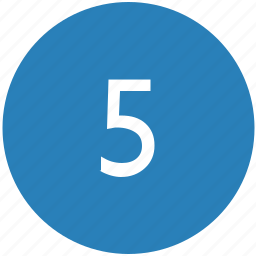 fifth, five, keyboard, number, round icon