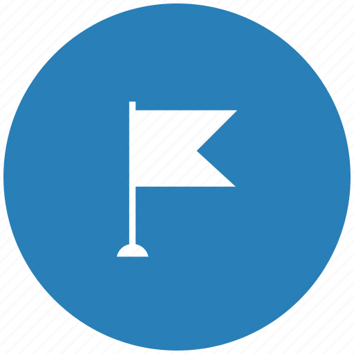 blue, flag, point, pointer, round icon