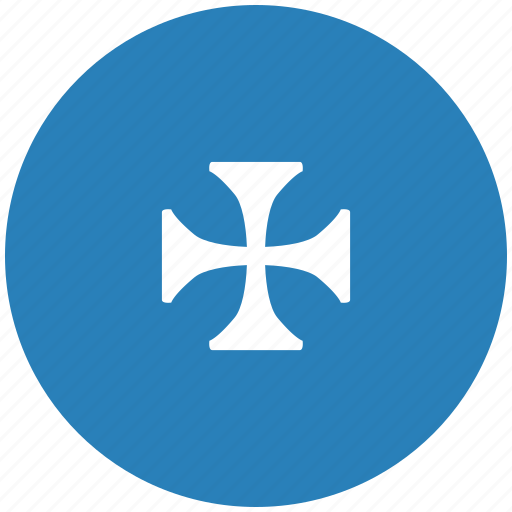 blue, cross, emblem, history, round icon