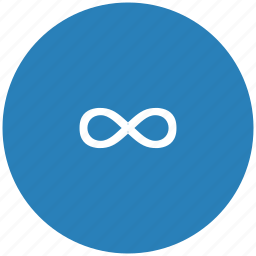 blue, function, infinity, math, round icon